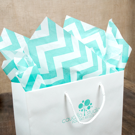 Aqua on White Chevron Tissue