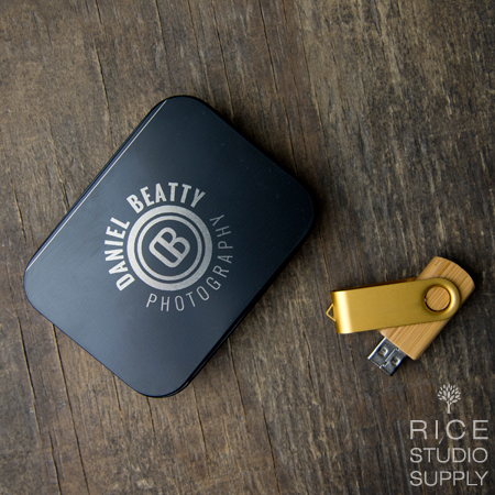 Black Tin Flash Drive Box + Bamboo Swivel Bundle