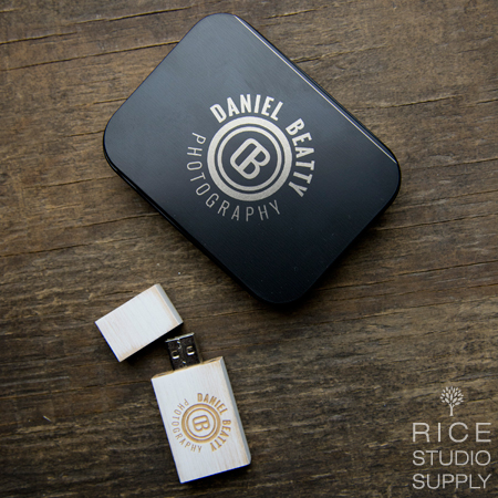 Black Tin Flash Drive Box + Vintage Square Flash Drive Bundle