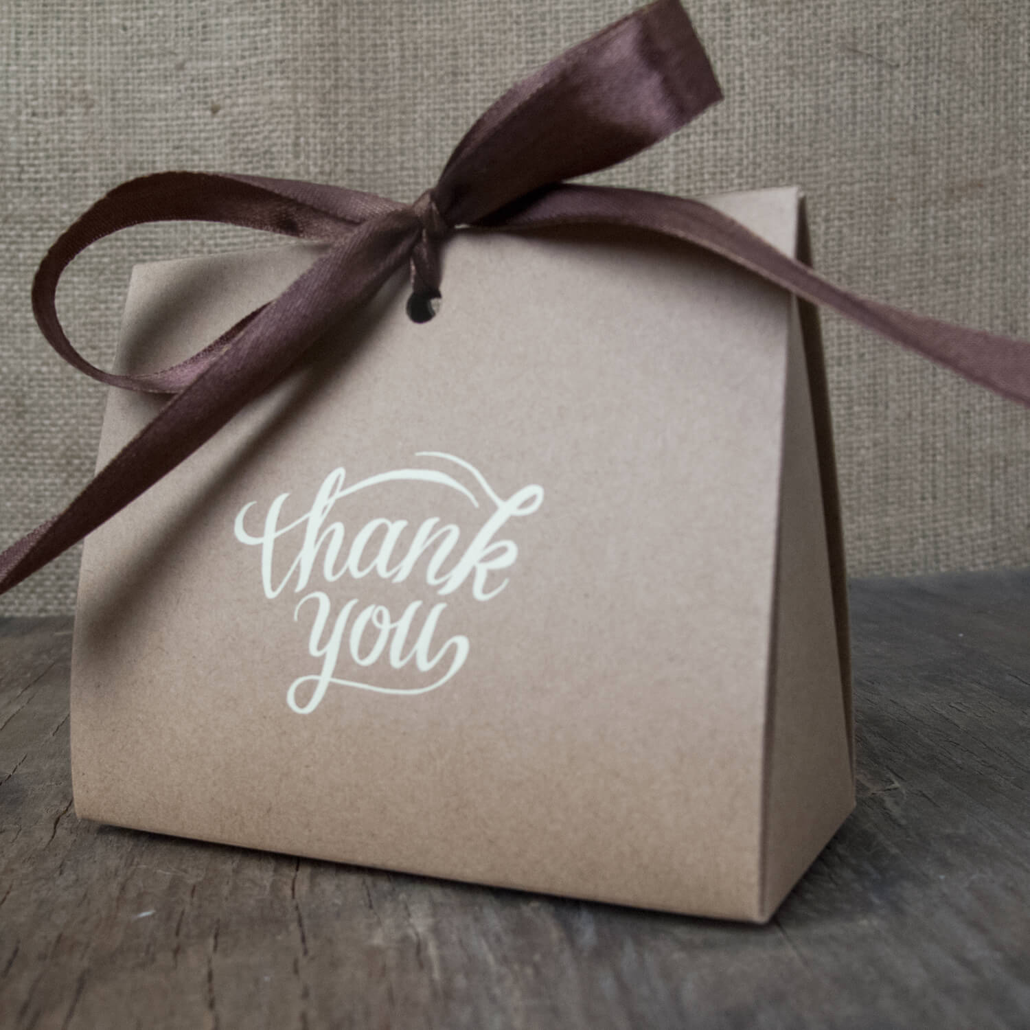 25 - NATURAL RIBBON PURSES WITH BROWN OR CREAM THANK YOU LOGO