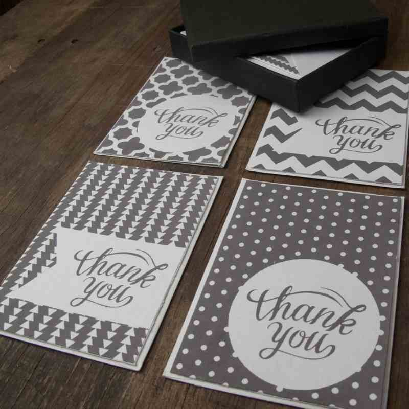 THANK YOU CARDS ( Box + 8 Cards with Envelopes ) - GRAY PACK